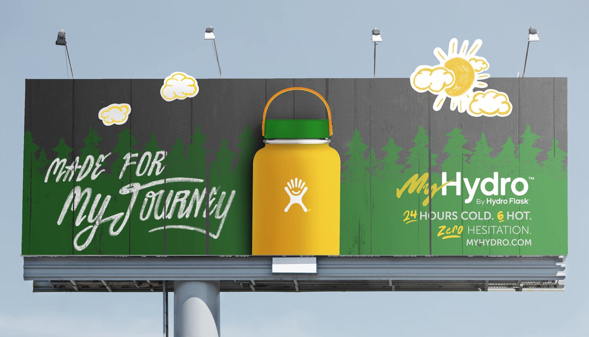billboard design text trees hand-drawn