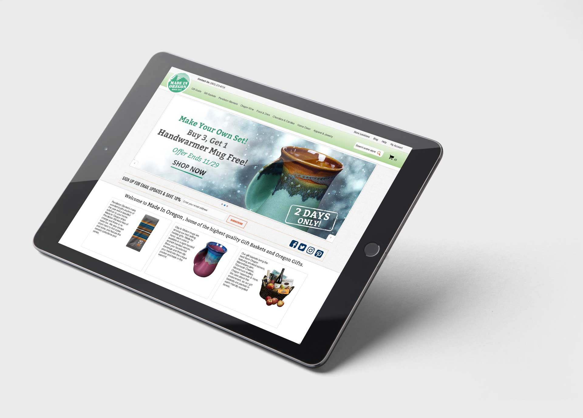 website banner mockup tablet design cta image holidays coffee mug