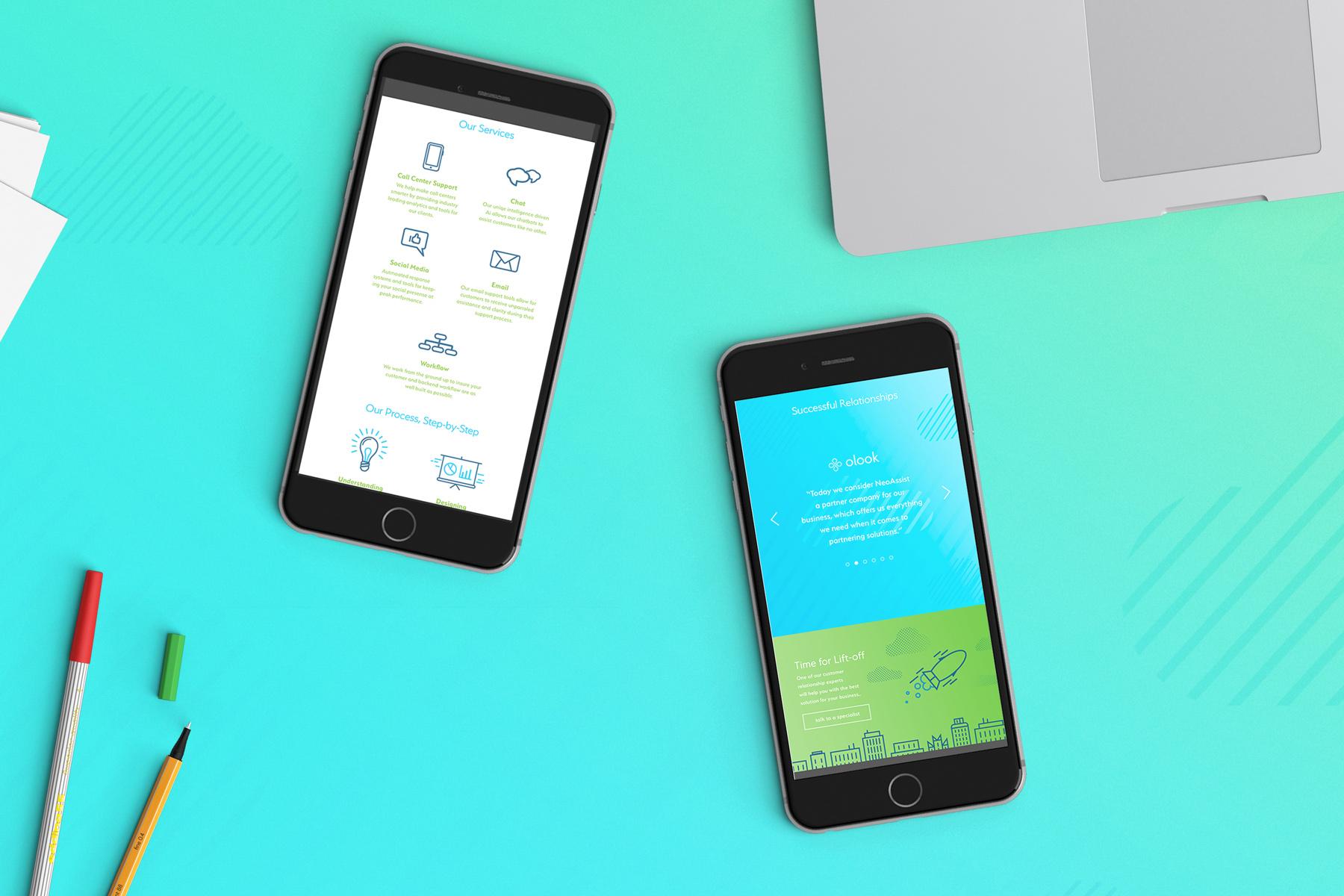 mobile website responsive icons blue gradients