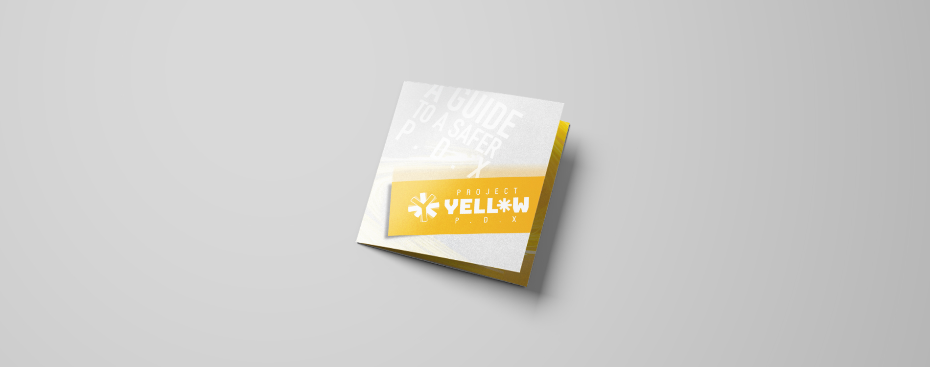 trifold print design cover yellow diagonal brochure