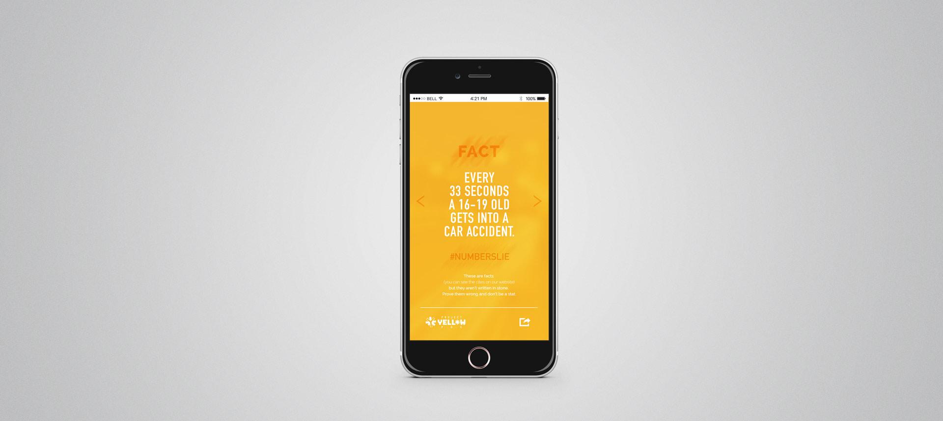 app interface design statistics yellow share